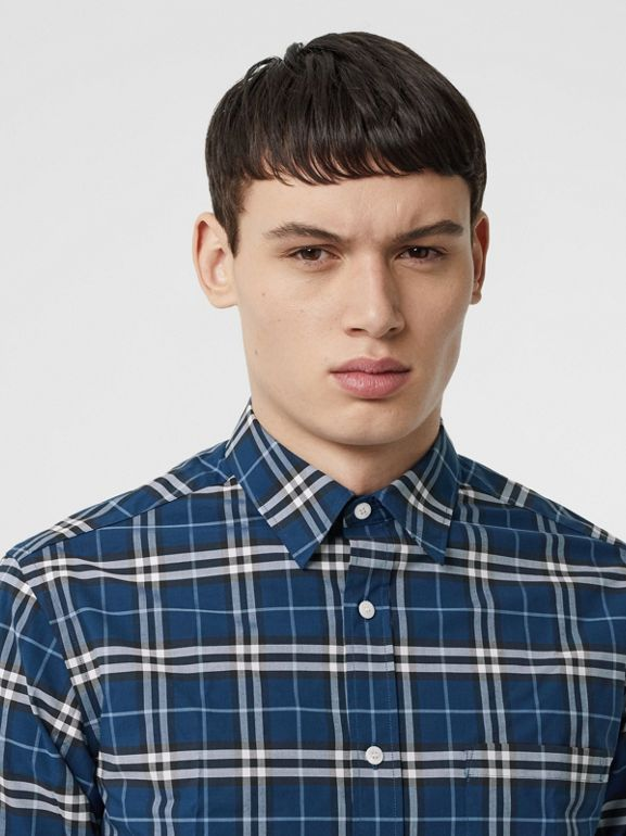 Check Stretch Cotton Shirt in Steel Blue - Men | Burberry - cell image 1