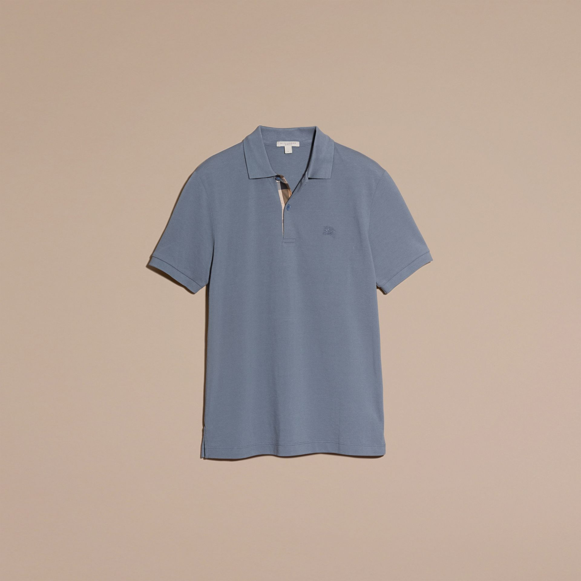 Check Placket Cotton Piqué Polo Shirt in Stone Blue - gallery image 4