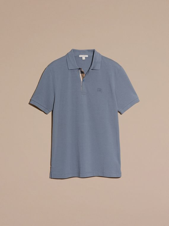 Check Placket Cotton Piqué Polo Shirt in Stone Blue - cell image 3