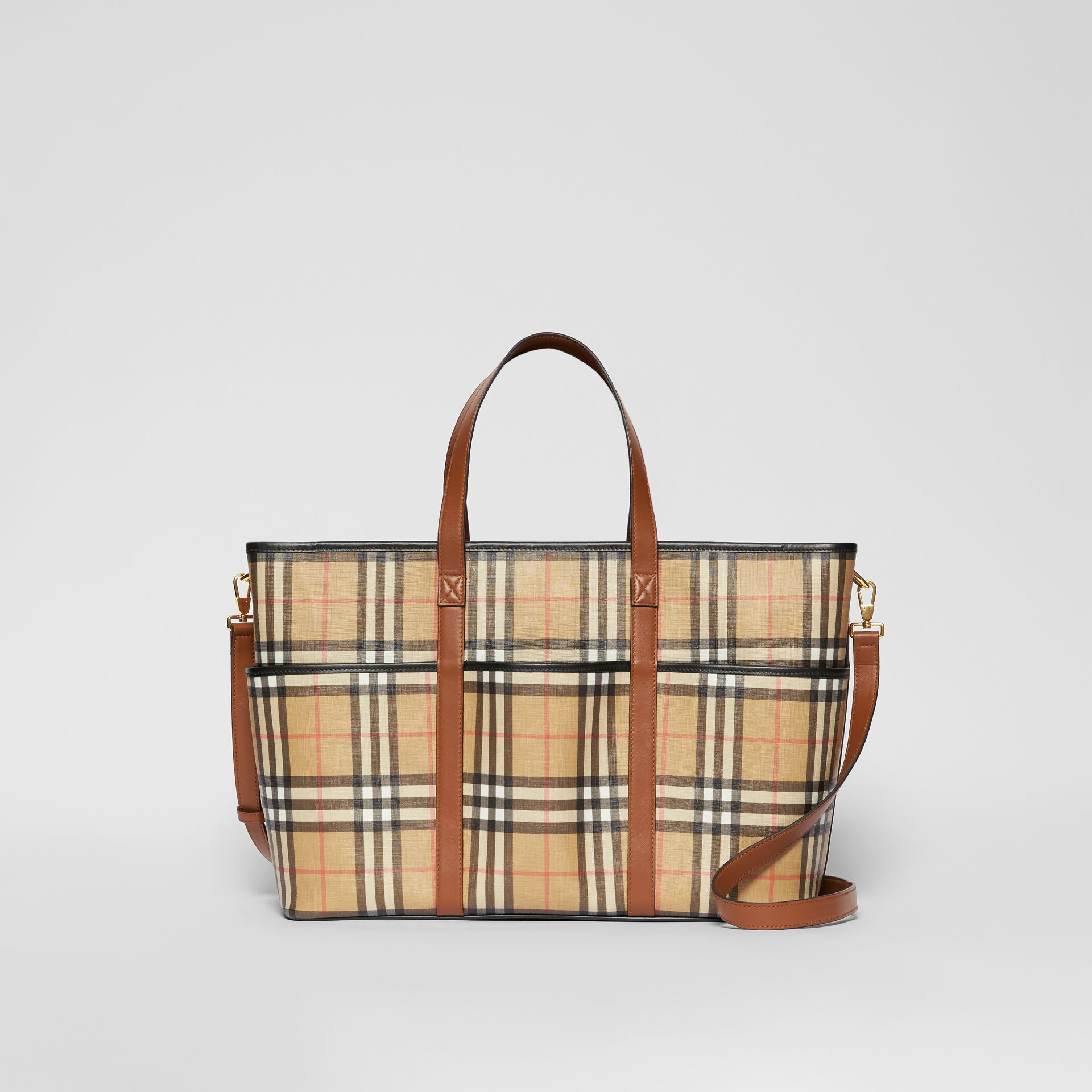 Vintage Check E-canvas Baby Changing Bag in Archive Beige - Children | Burberry United States - gallery image 0