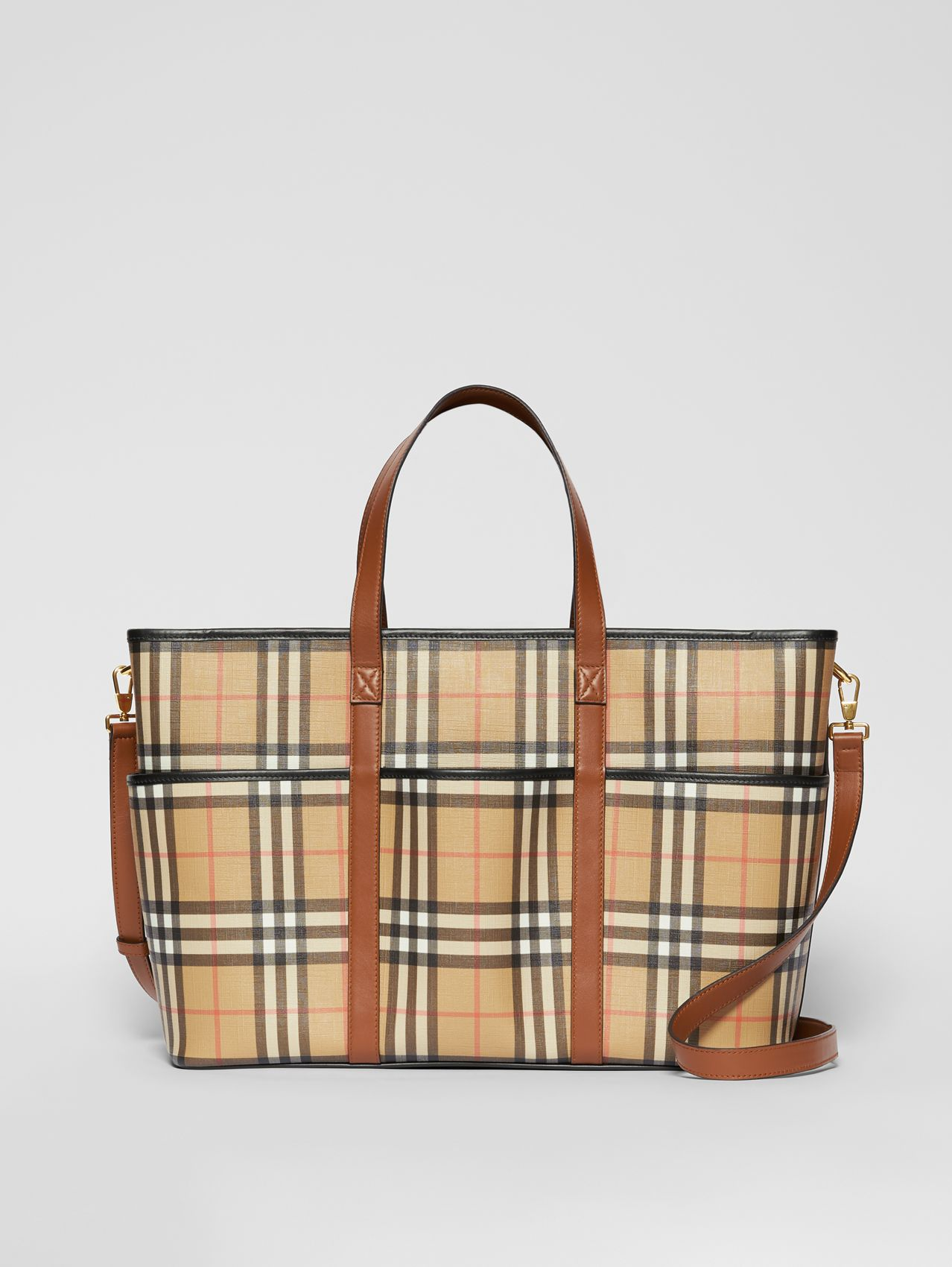 Vintage Check E-canvas Baby Changing Bag in Archive Beige