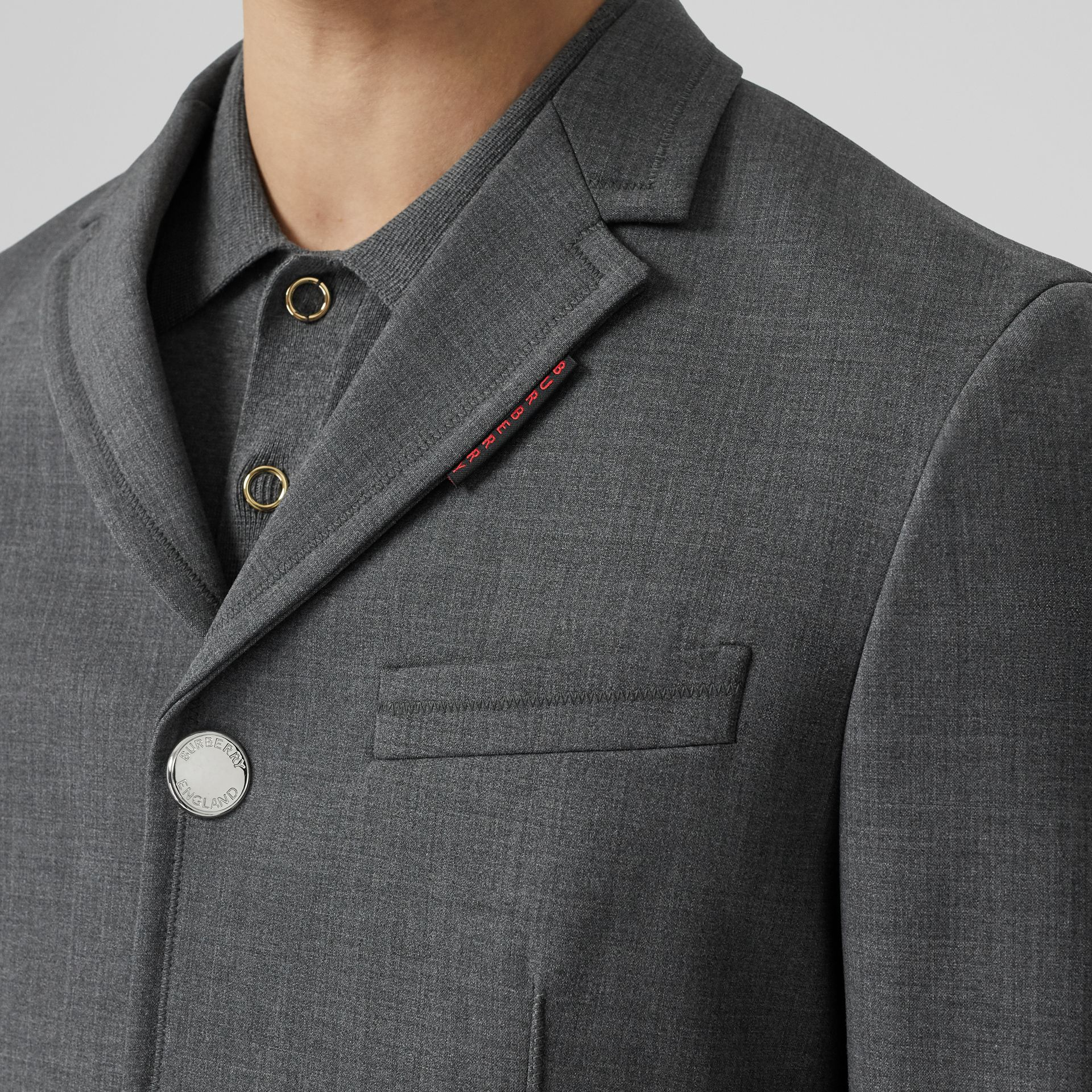 Stripe Detail Stretch Wool Neoprene Tailored Jacket in Dark Grey Melange - Men | Burberry - gallery image 1