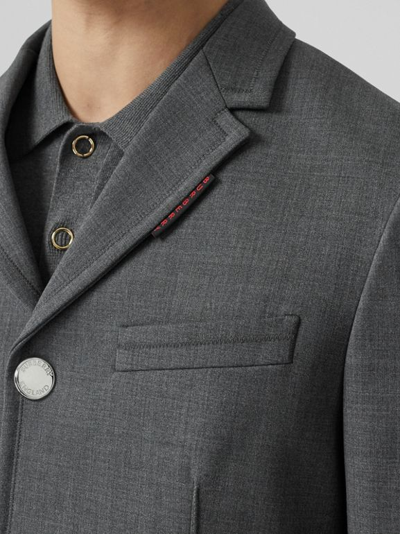 Stripe Detail Stretch Wool Neoprene Tailored Jacket in Dark Grey Melange - Men | Burberry United Kingdom - cell image 1