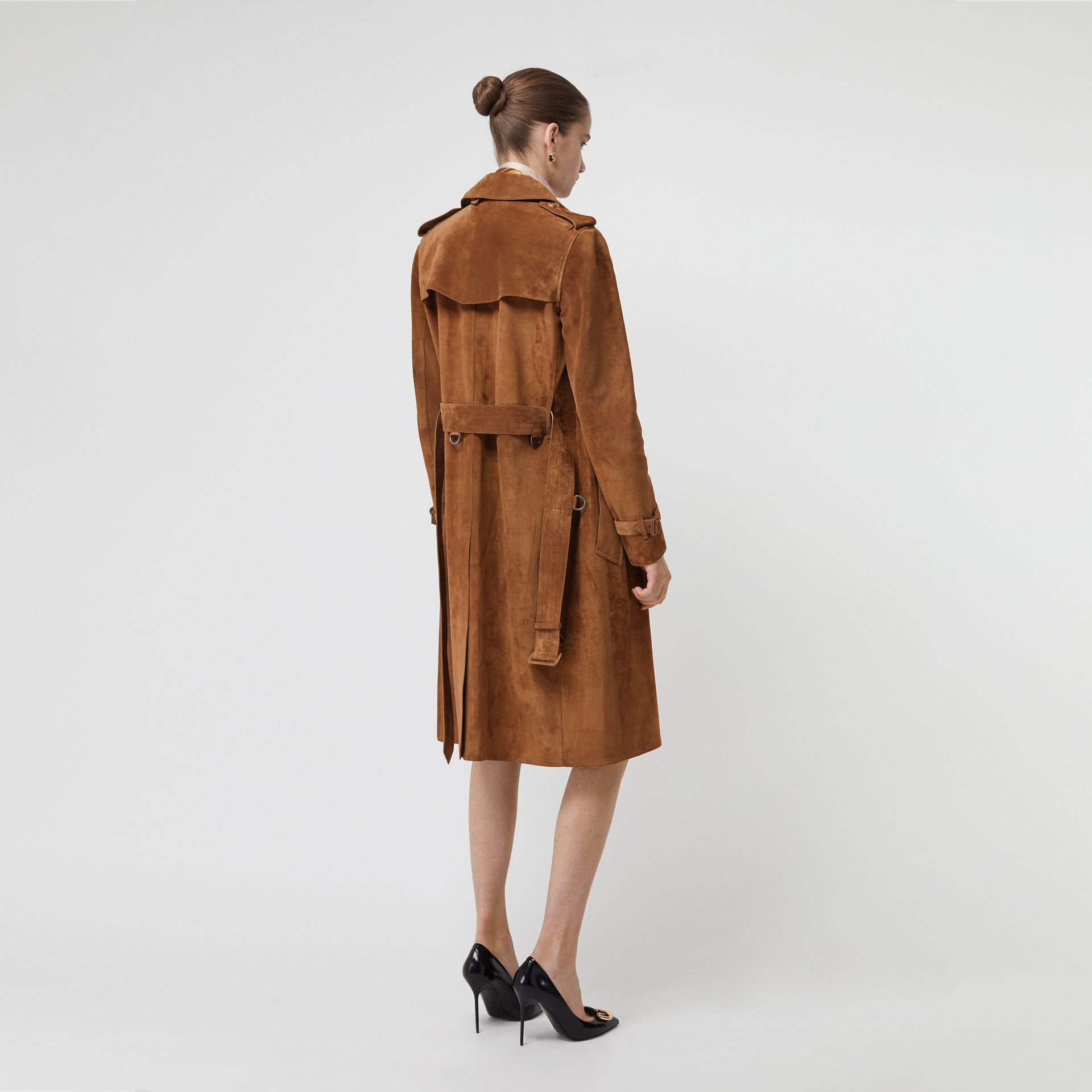 Suede Trench Coat in Sepia Brown - Women | Burberry - gallery image 2