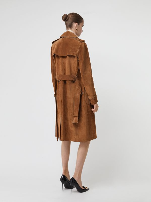 Suede Trench Coat in Sepia Brown - Women | Burberry - cell image 2