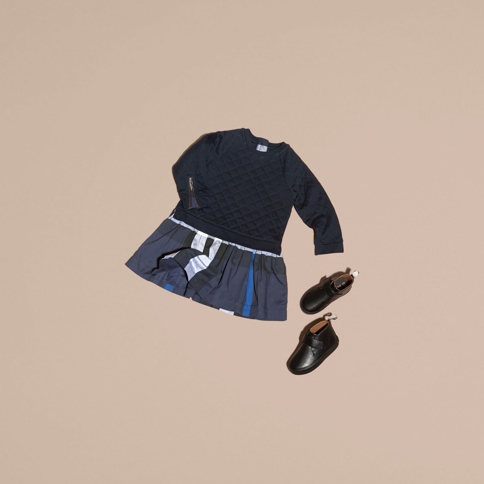 Navy Quilted Jersey and Check Cotton Day Dress Navy - gallery image 5