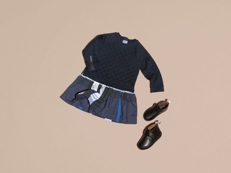 Navy Quilted Jersey and Check Cotton Day Dress Navy - cell image 4