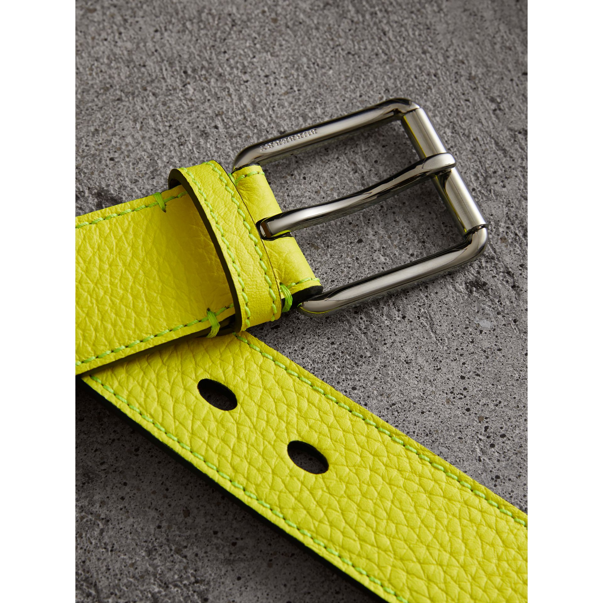 Embossed Grainy Leather Belt in Neon Yellow | Burberry - gallery image 1