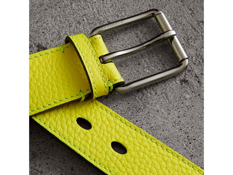 Embossed Grainy Leather Belt in Neon Yellow | Burberry - cell image 1