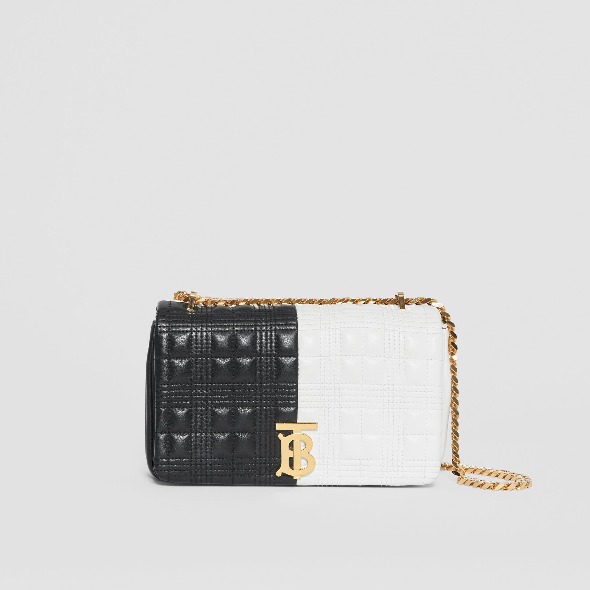 Small Quilted Check Two-tone Lambskin Lola Bag in White/black - Women | Burberry - gallery image 0