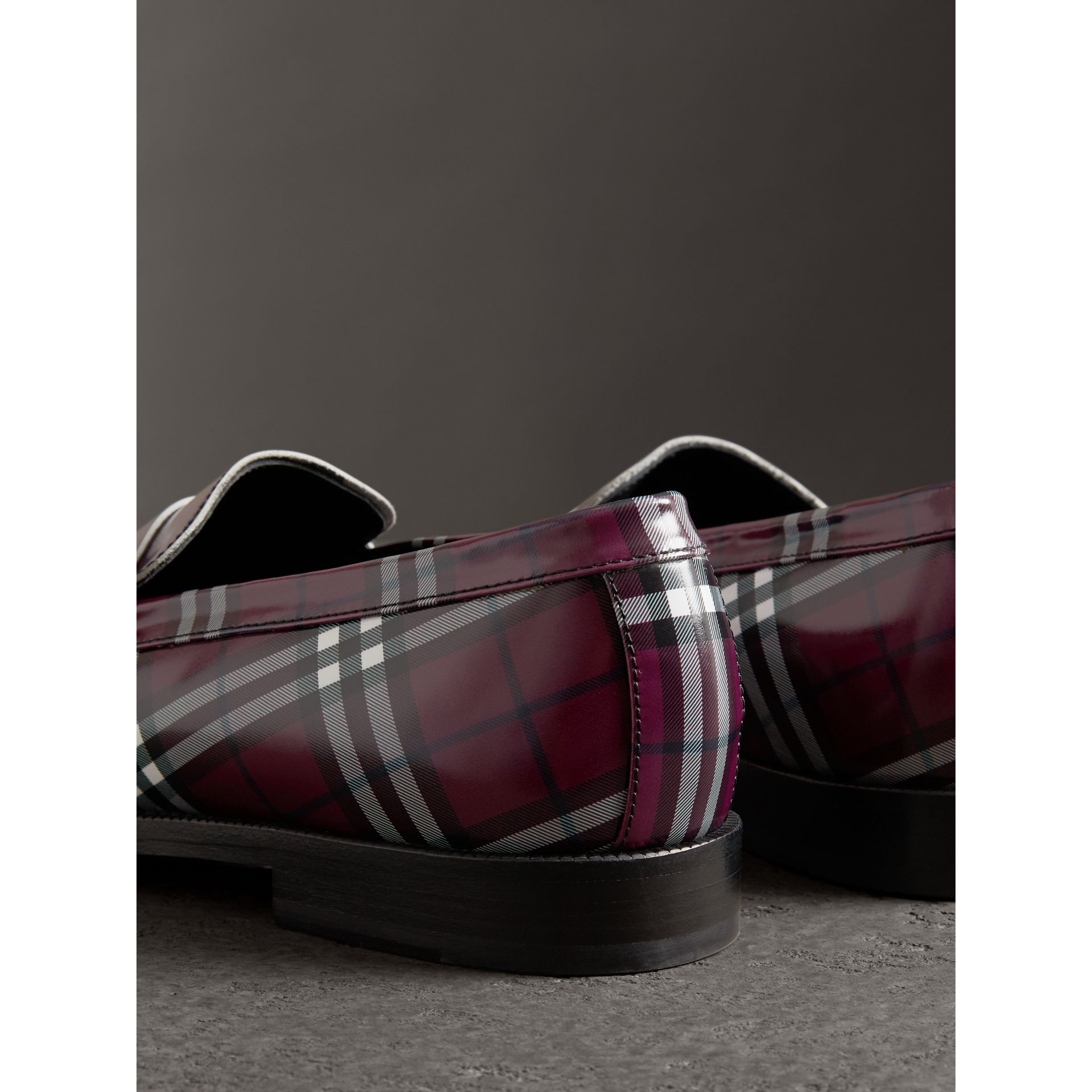 Gosha x Burberry Check Leather Loafers in Claret - Men | Burberry Singapore - gallery image 2