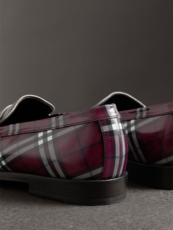 Gosha x Burberry Check Leather Loafers in Claret - Men | Burberry Singapore - cell image 2