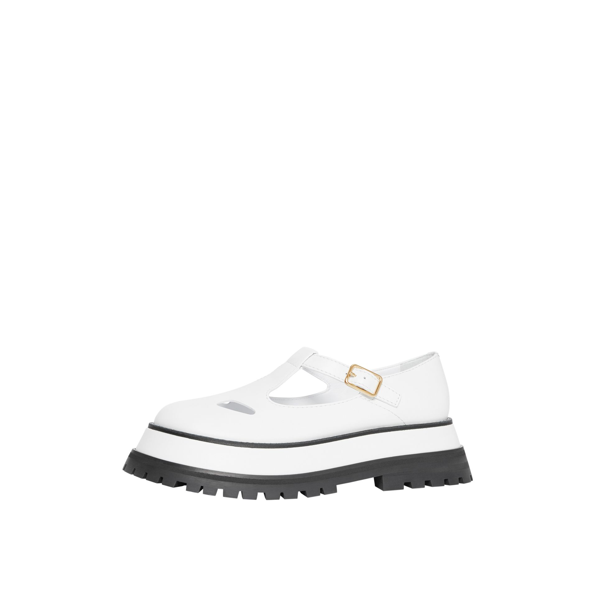Leather T-bar Shoes in Optic White - Women | Burberry - gallery image 7