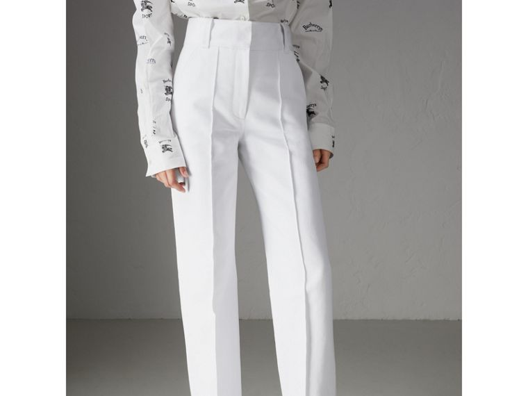 Cotton Drill High-waisted Trousers in White - Women | Burberry - cell image 4