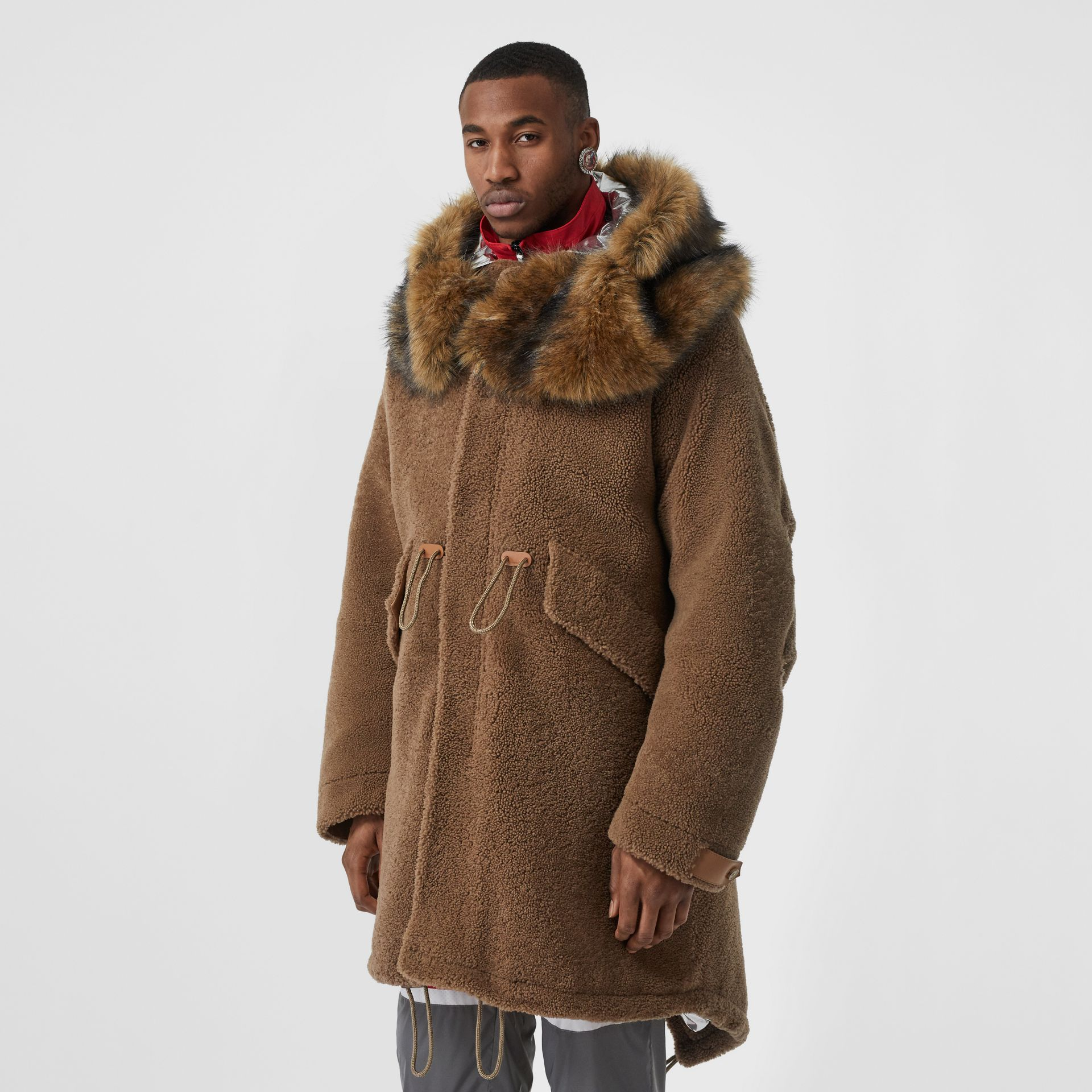 Shearling Parka with Detachable Hood and Jacket in Pale Coffee - Men | Burberry - gallery image 6