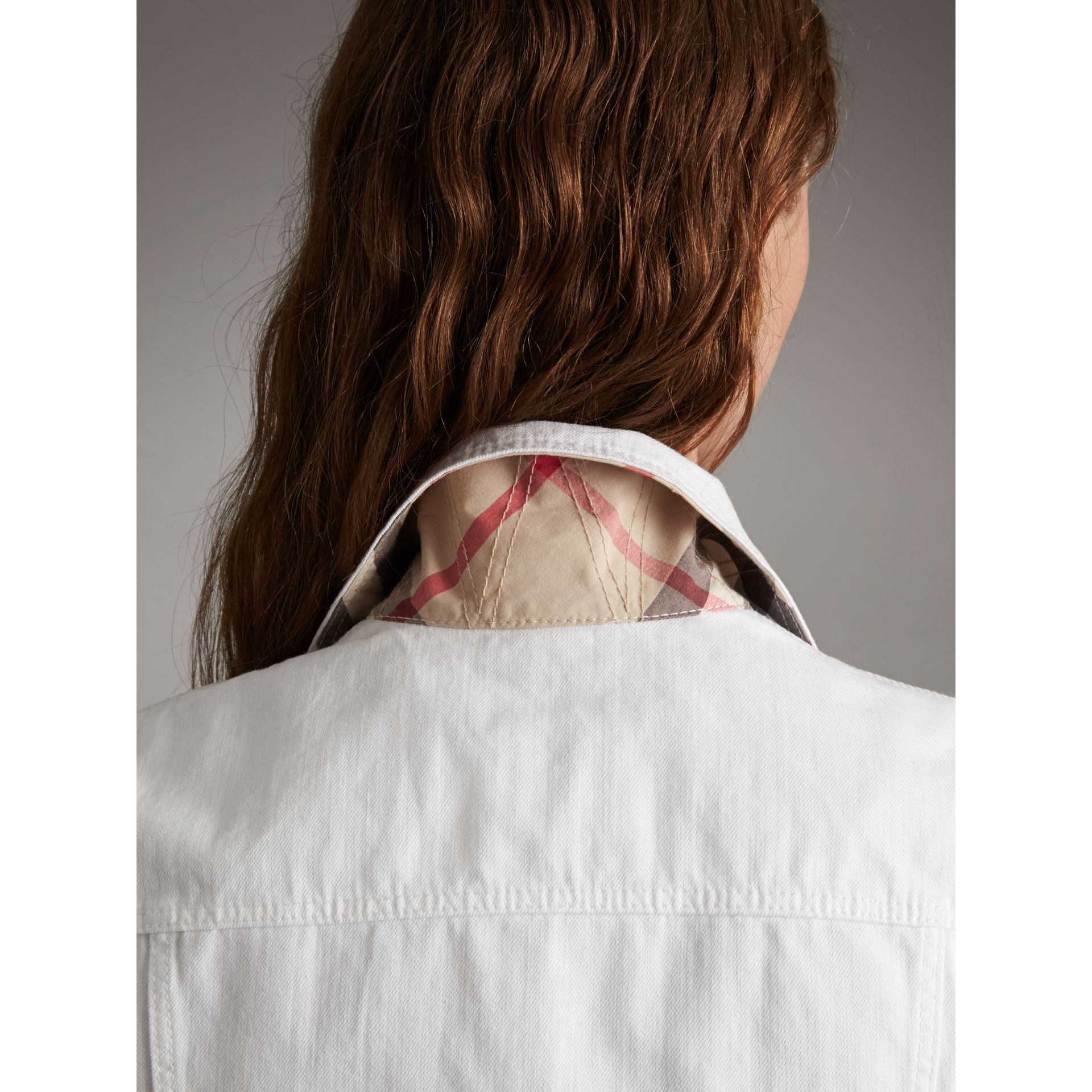 Check Detail Denim Jacket in White - Women | Burberry - gallery image 5