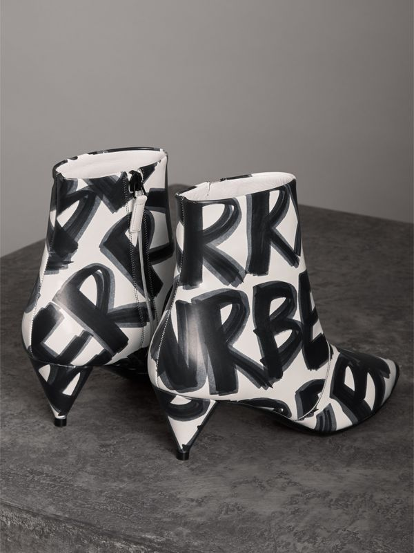 Graffiti Print Leather Ankle Boots in Optic White - Women | Burberry - cell image 3