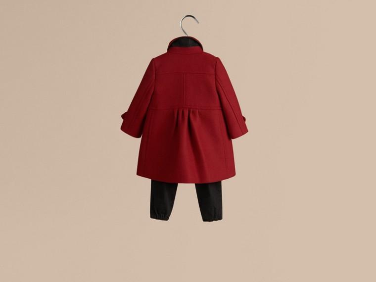 Rouge prune Manteau militaire ajusté en laine et cachemire mélangés - cell image 2