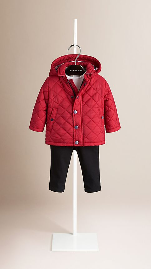 Military red Check Detail Diamond Quilted Jacket - Image 1