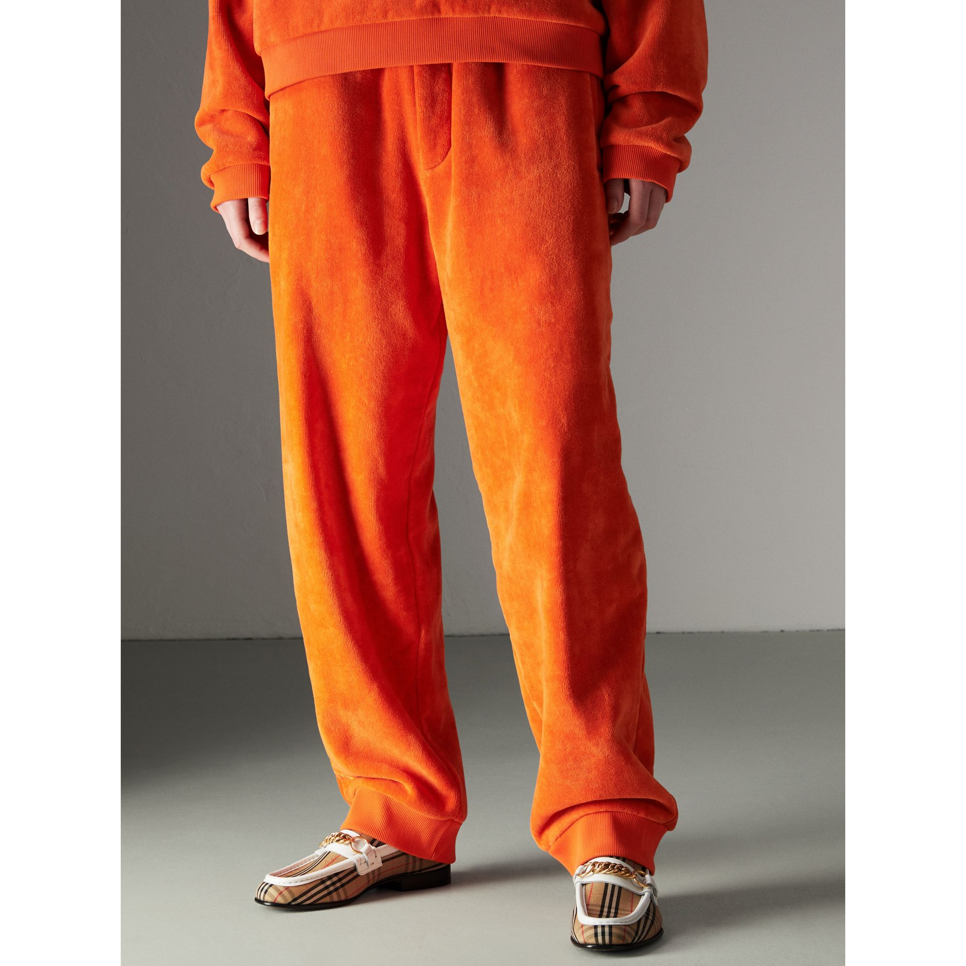 Archive Logo Towelling Sweatpants in Tangerine - Women | Burberry Australia - gallery image 4