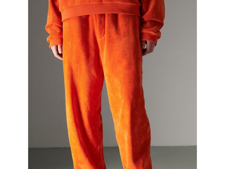 Archive Logo Towelling Sweatpants in Tangerine - Women | Burberry - cell image 4