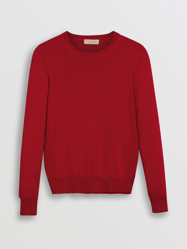 Check Detail Merino Wool Sweater in Parade Red - Women | Burberry - cell image 3