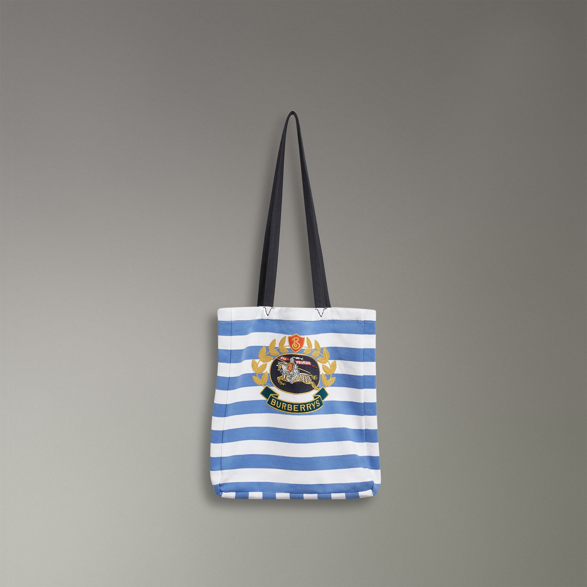 Archive Logo Striped Jersey Tote in Sky Blue/white | Burberry United Kingdom - gallery image 0