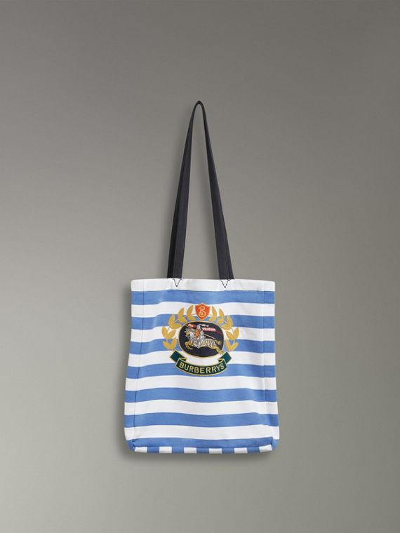 Archive Logo Striped Jersey Tote in Sky Blue/white