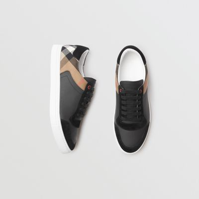 Leather And House Check Sneakers by Burberry