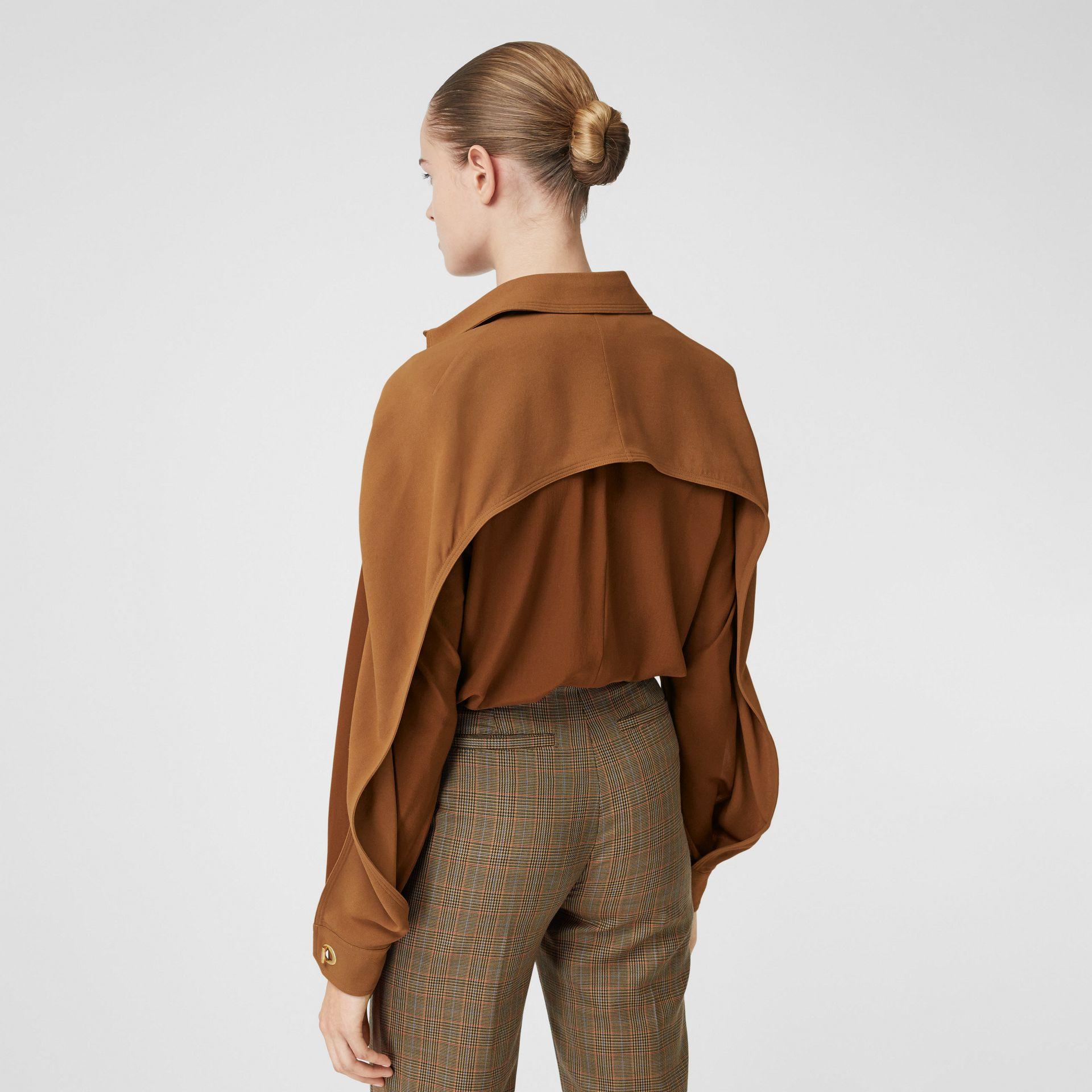 Cape Sleeve Two-tone Silk Shirt in Mahogany - Women | Burberry - gallery image 2