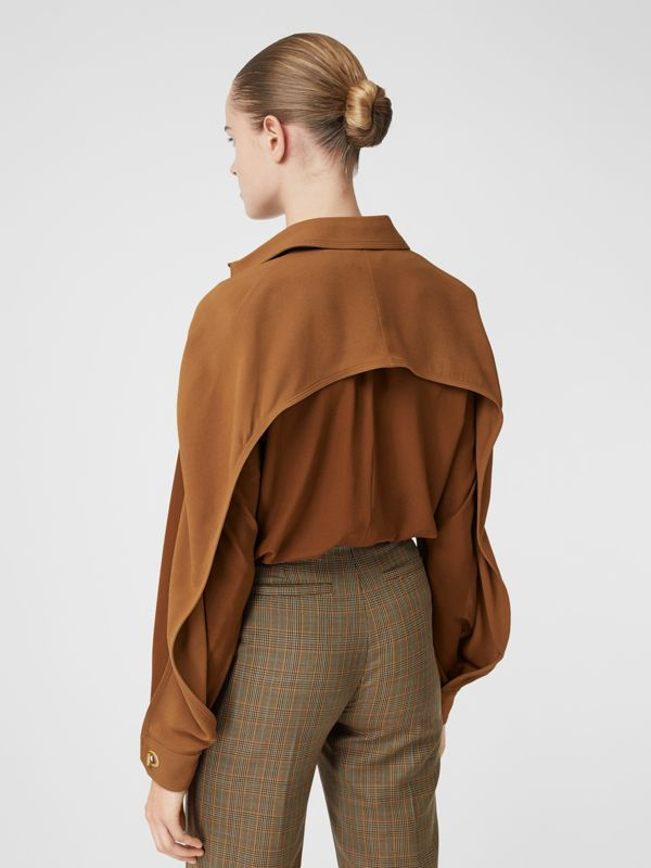 Cape Sleeve Two-tone Silk Shirt in Mahogany - Women | Burberry - cell image 2
