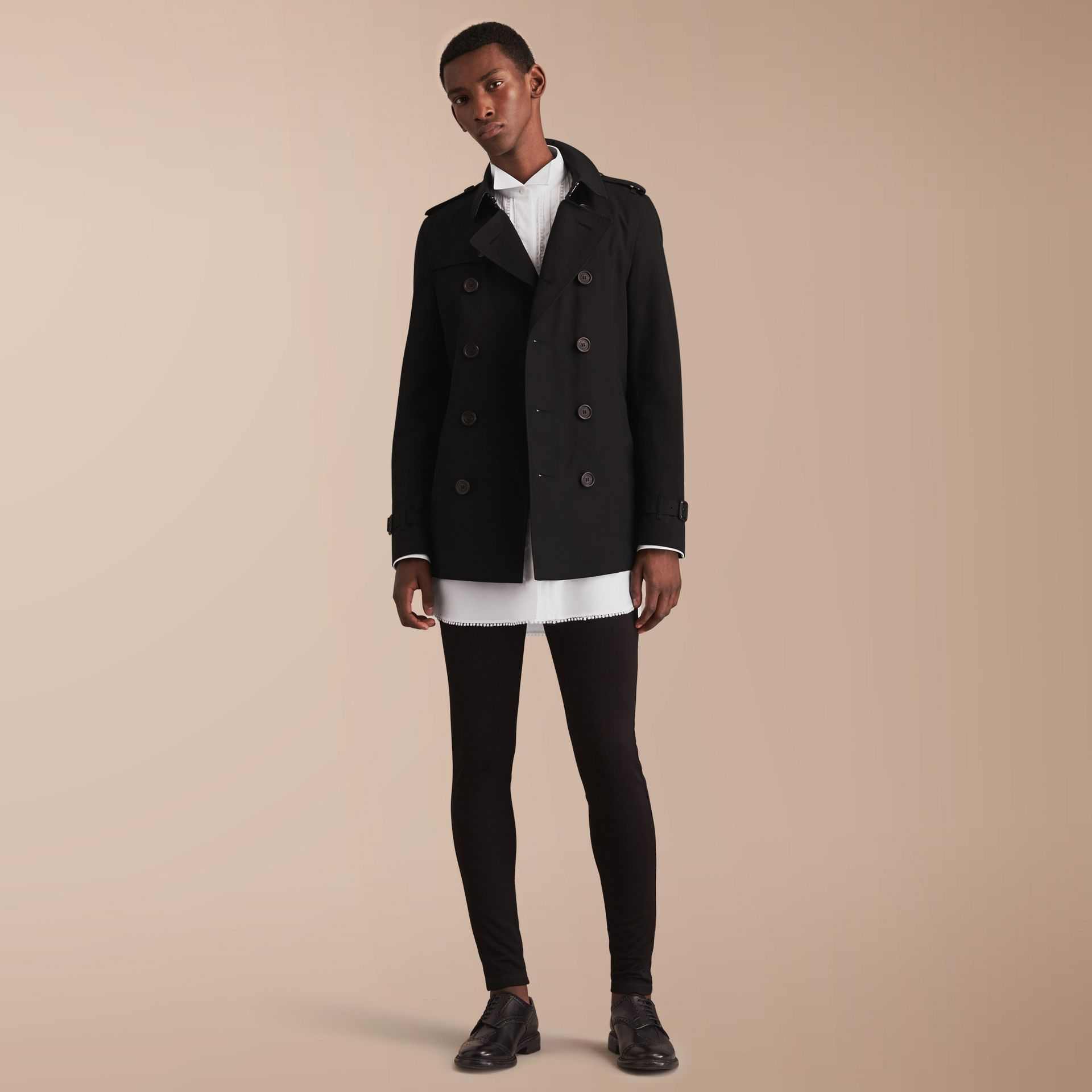 The Chelsea – Short Heritage Trench Coat in Black - gallery image 1