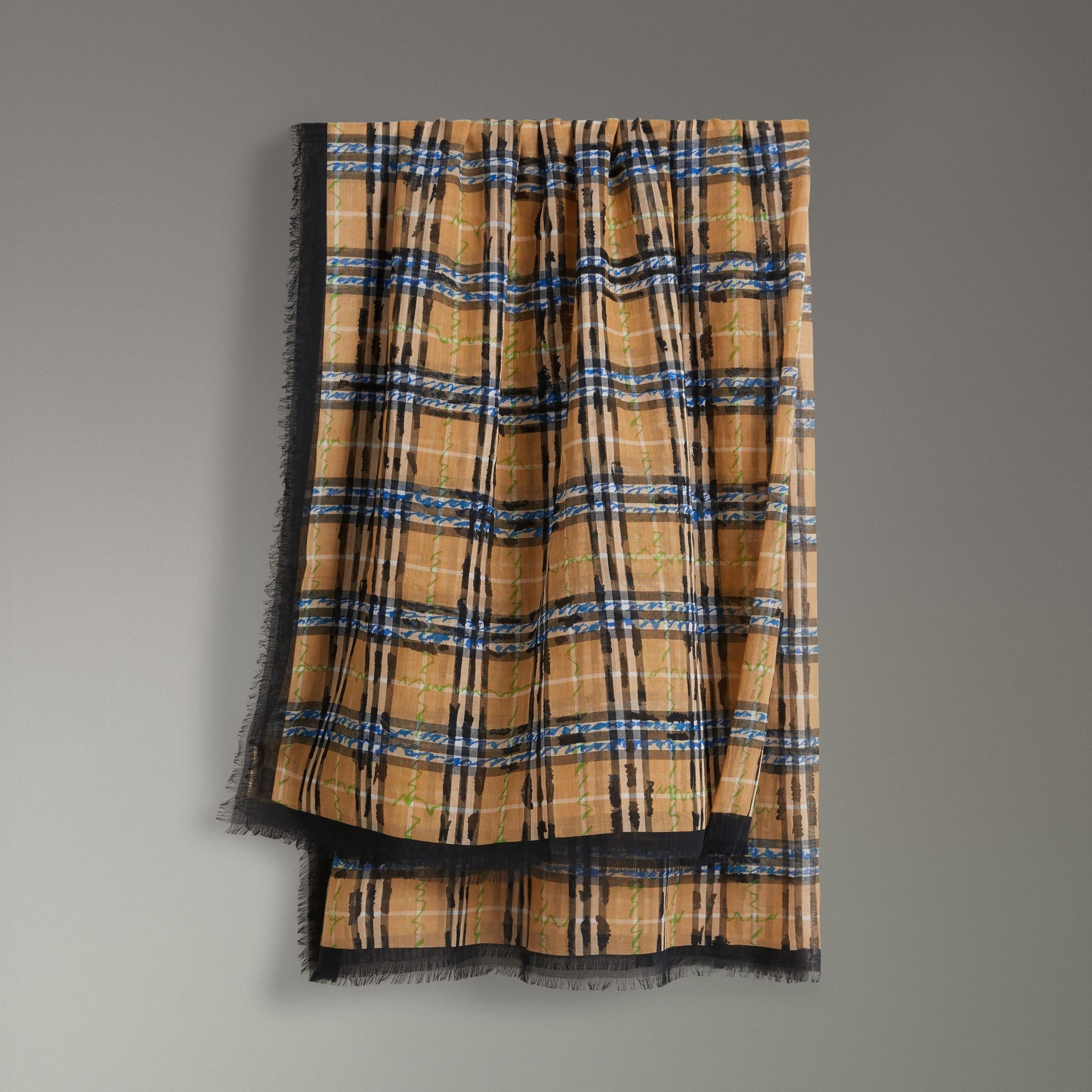 Scribble Check Cotton Large Square Scarf in Antique Yellow | Burberry - gallery image 0