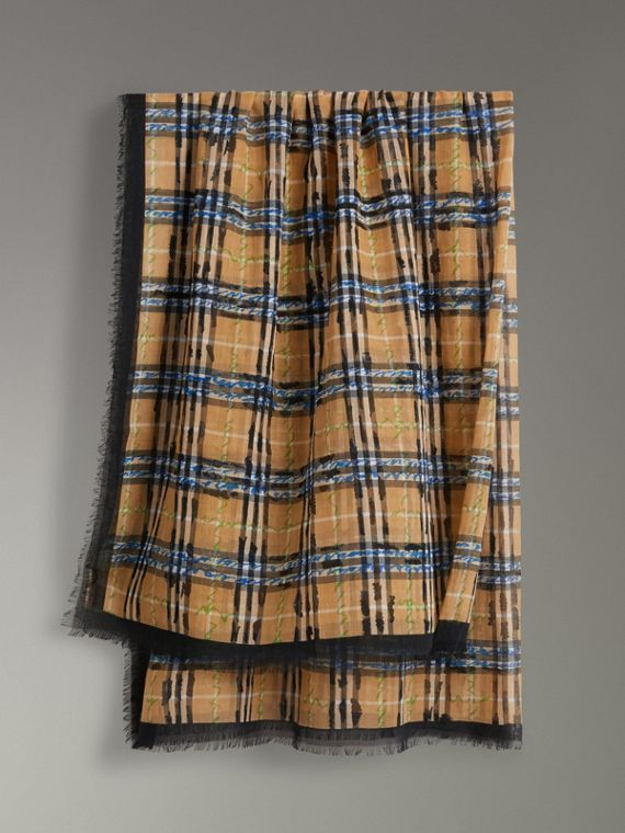 Scribble Check Cotton Large Square Scarf in Antique Yellow