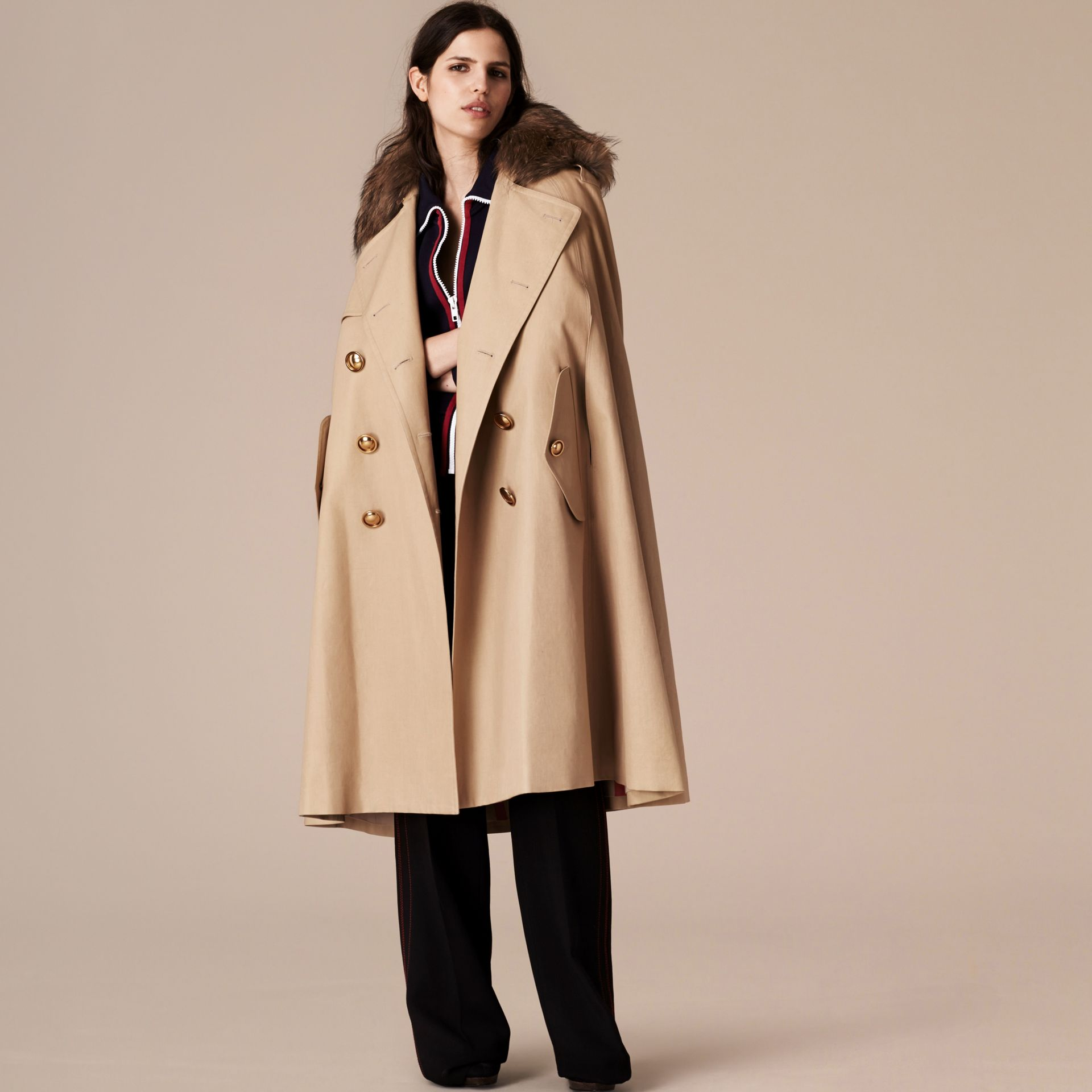 Honey Raccoon Collar Cotton Trench Cape - gallery image 4