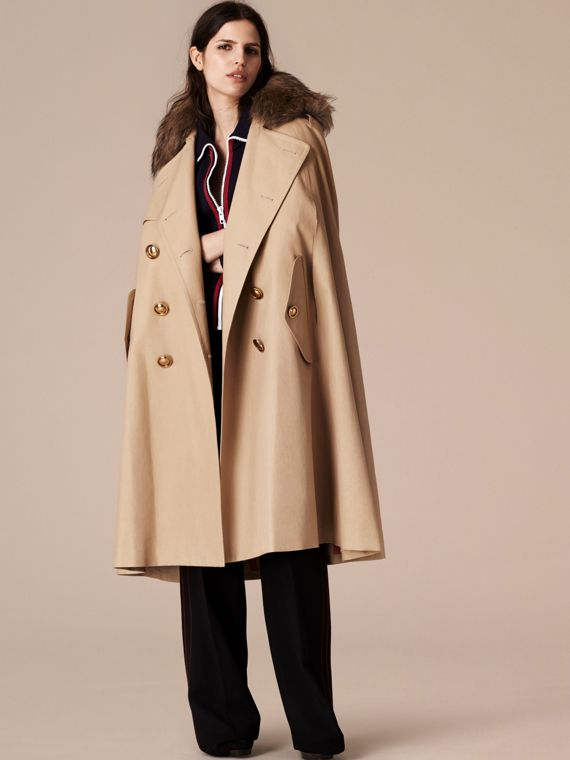 Honey Raccoon Collar Cotton Trench Cape - cell image 3