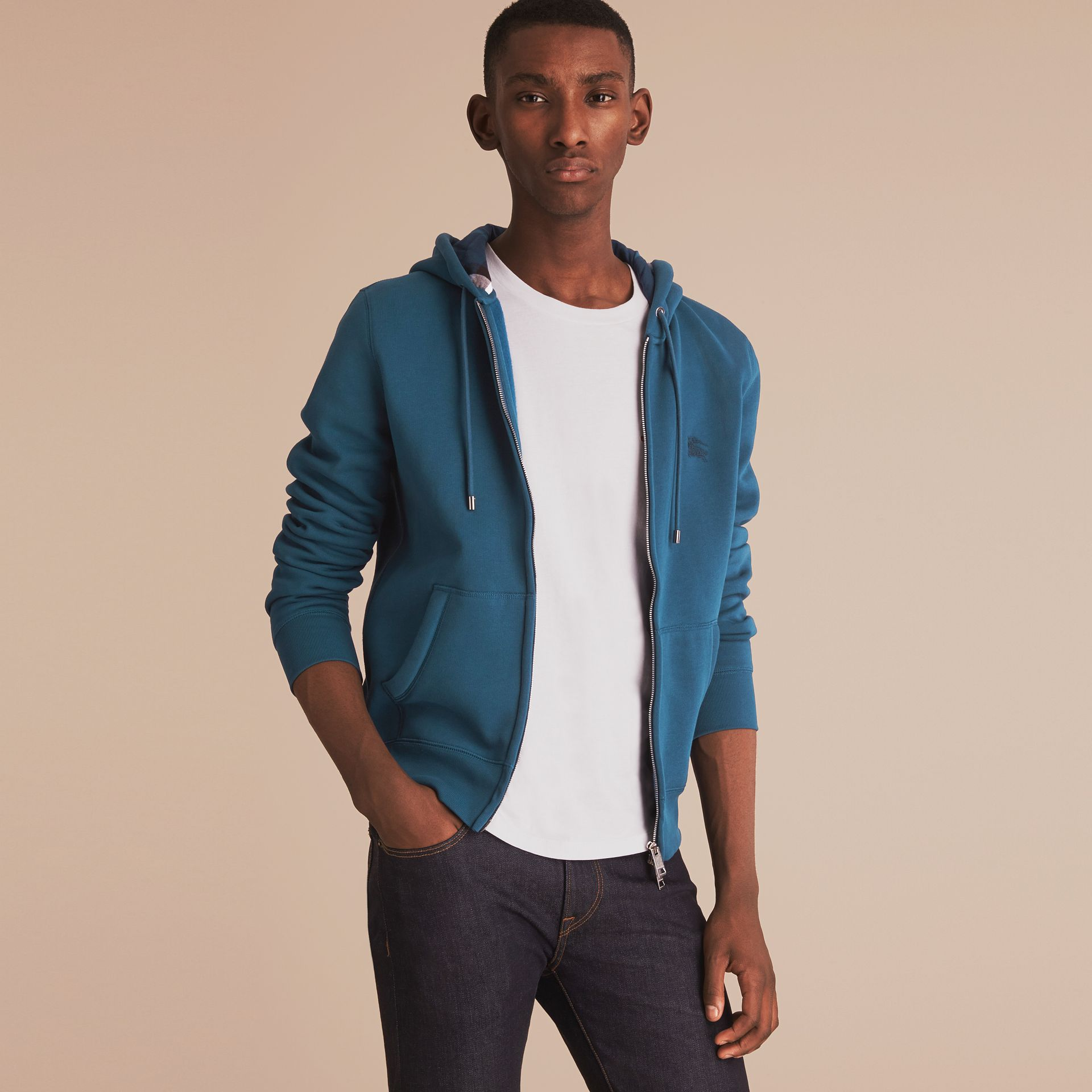 Hooded Cotton Jersey Top in Mineral Blue - Men | Burberry - gallery image 6