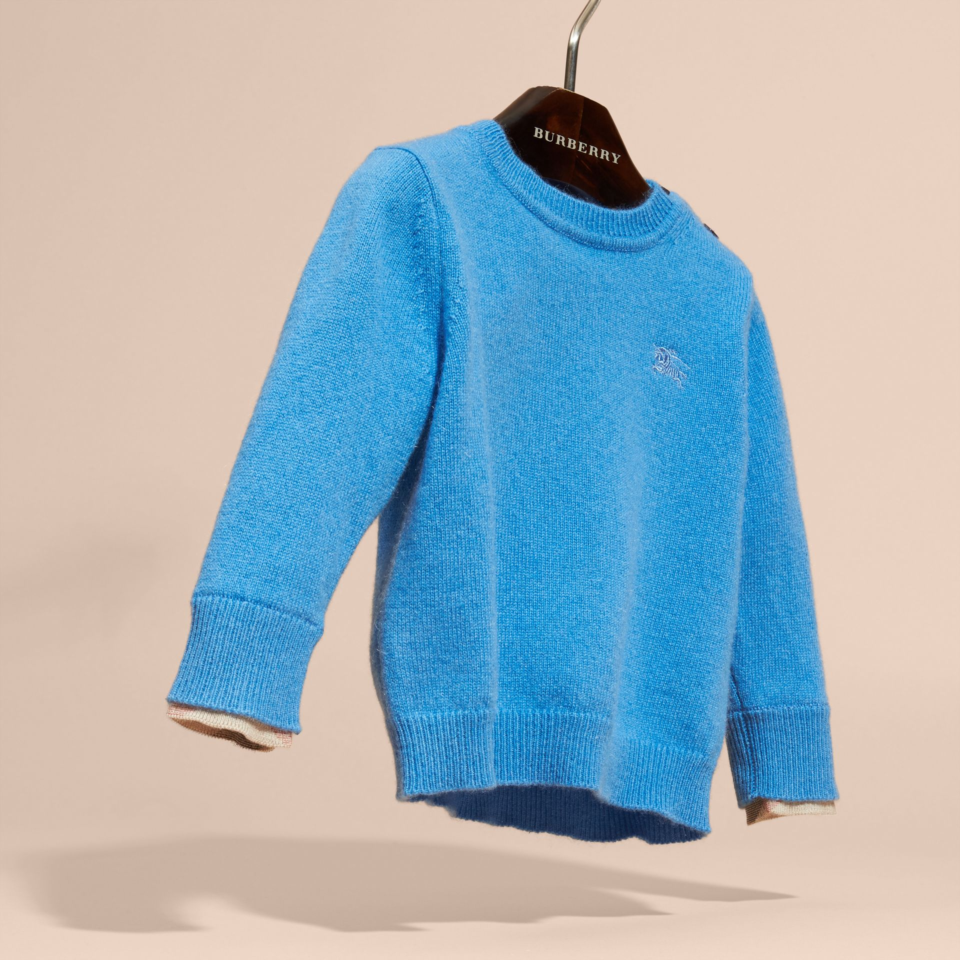 Check Detail Cashmere Sweater Pale Blue - gallery image 3