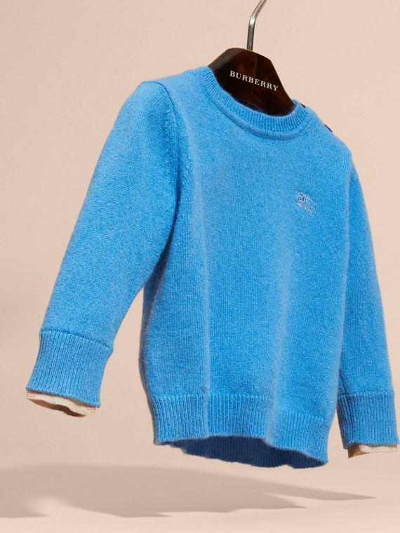 Check Detail Cashmere Sweater in Pale Blue - cell image 2