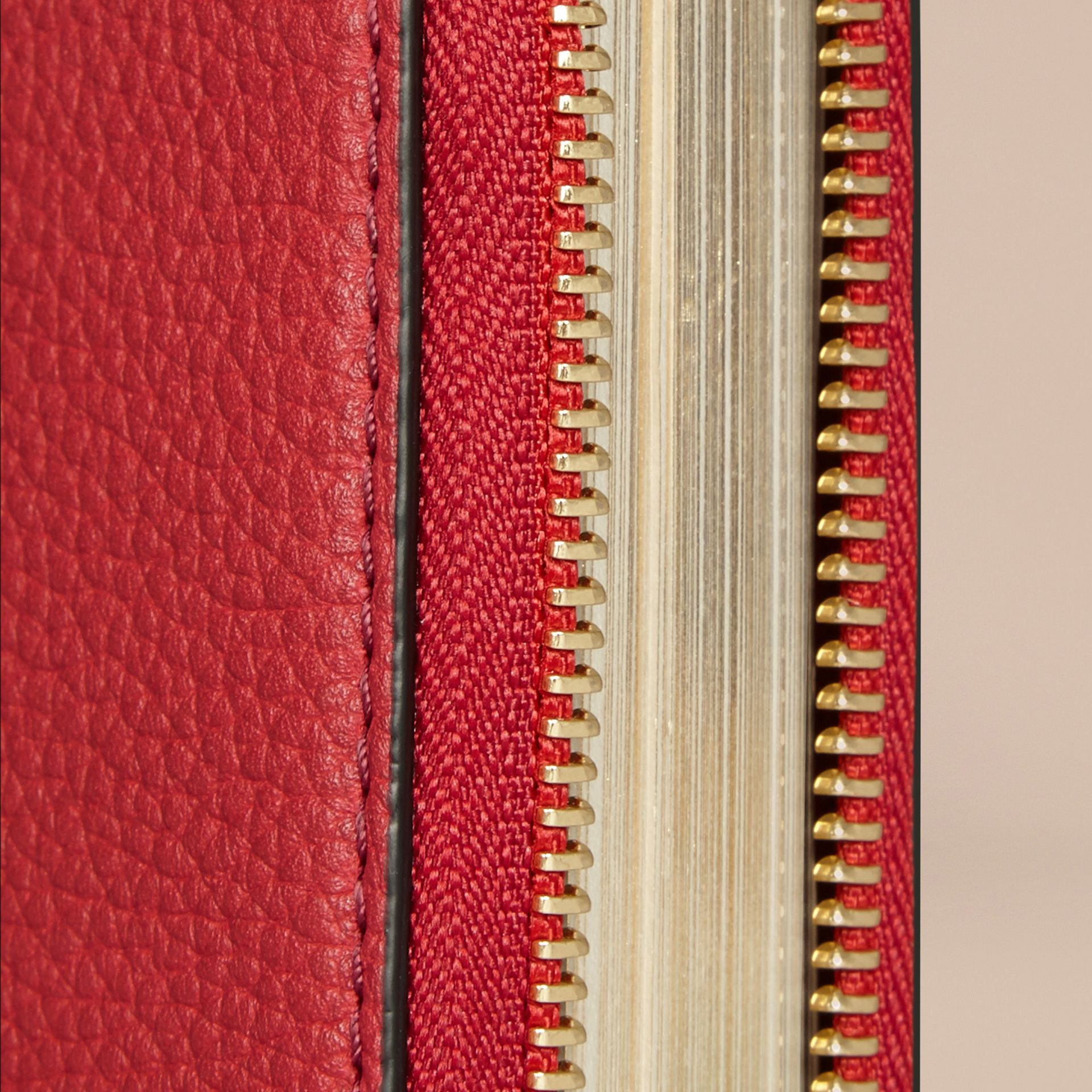 Ziparound Grainy Leather Mini Notebook in Parade Red | Burberry - gallery image 2