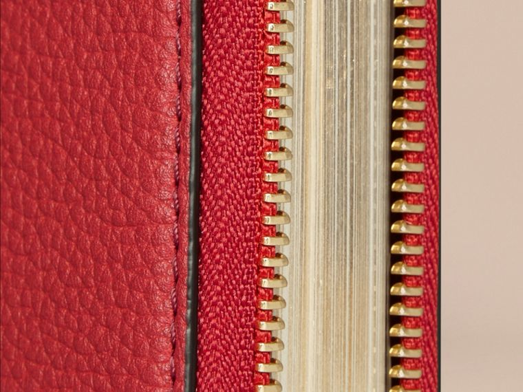 Ziparound Grainy Leather Mini Notebook in Parade Red | Burberry Australia - cell image 1