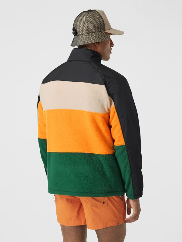 Logo Graphic Striped Fleece Jacket in Black - Men | Burberry United Kingdom - cell image 2