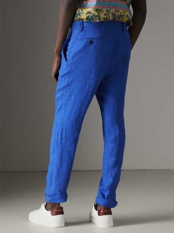 Soho Fit Linen Trousers in Violet Blue - Men | Burberry Australia - cell image 2