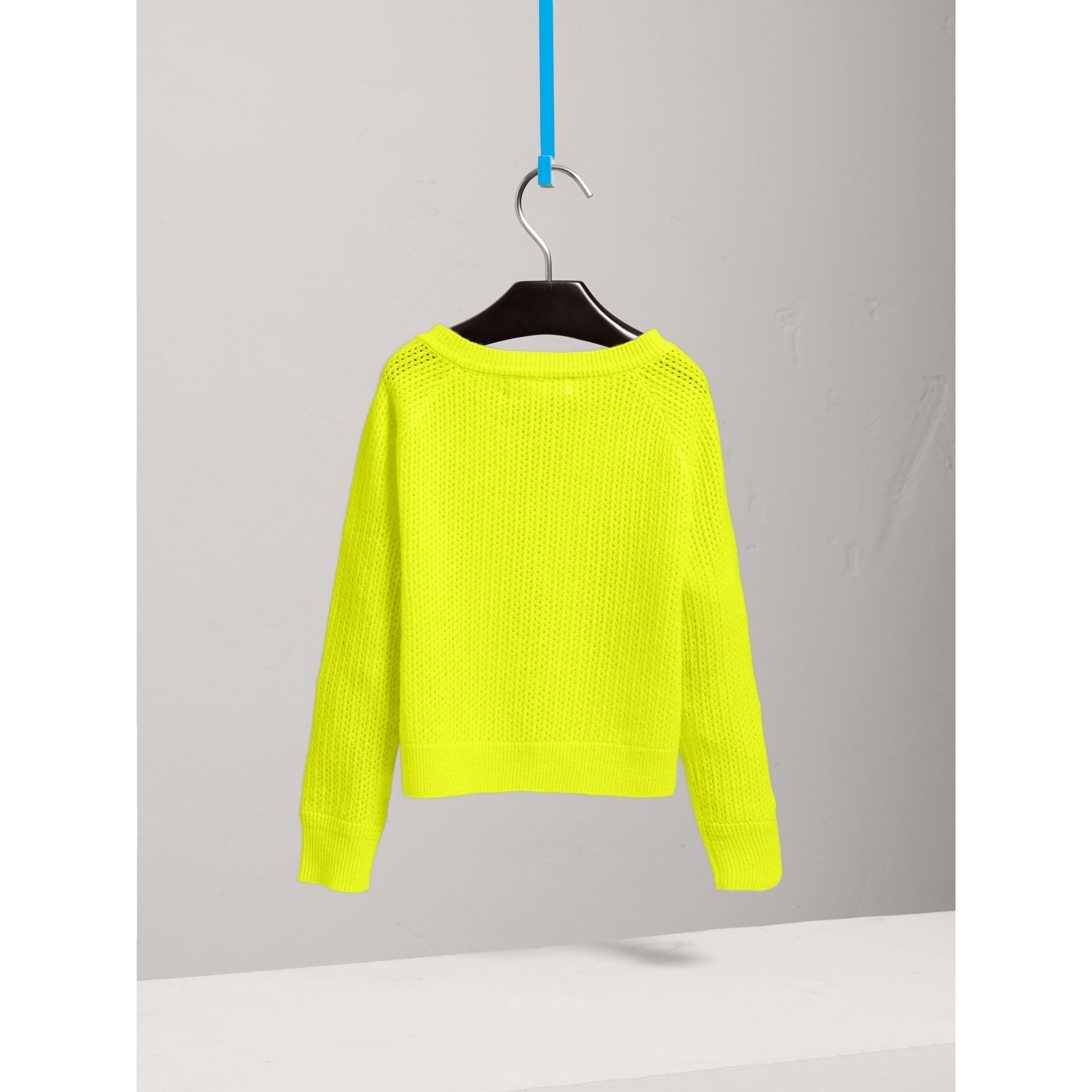 Open-stitch Knitted Cashmere Cardigan in Neon Yellow - Girl | Burberry - gallery image 3
