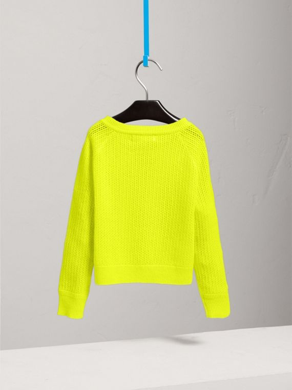 Open-stitch Knitted Cashmere Cardigan in Neon Yellow - Girl | Burberry - cell image 3