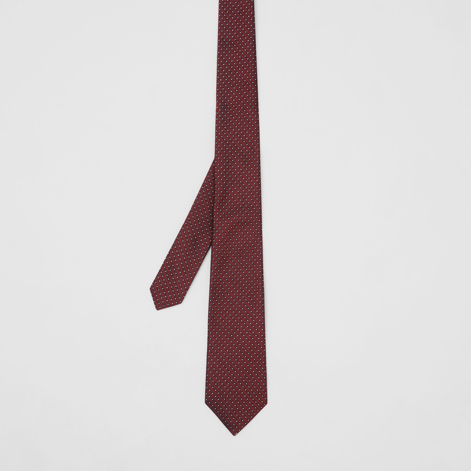 Classic Cut Micro Dot Silk Jacquard Tie in Oxblood - Men | Burberry - gallery image 4