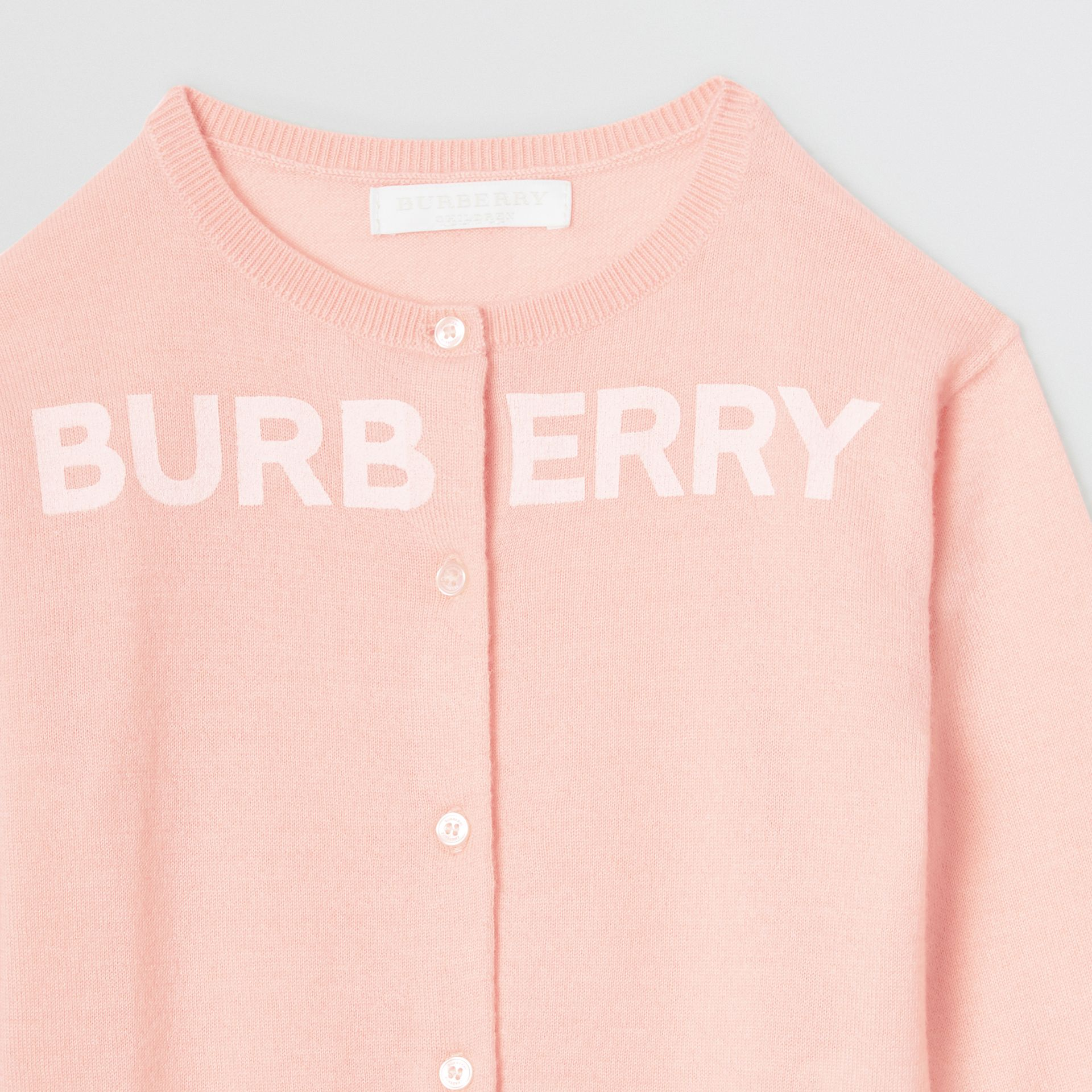Logo Print Cashmere Two-piece Set in Pale Rose Pink - Children | Burberry - gallery image 6
