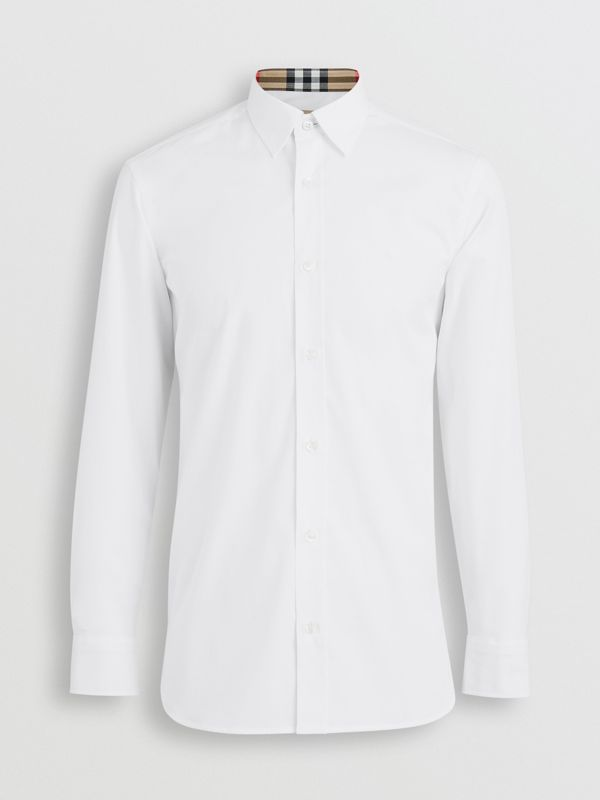 Check Cuff Stretch Cotton Poplin Shirt in White - Men | Burberry Australia - cell image 3