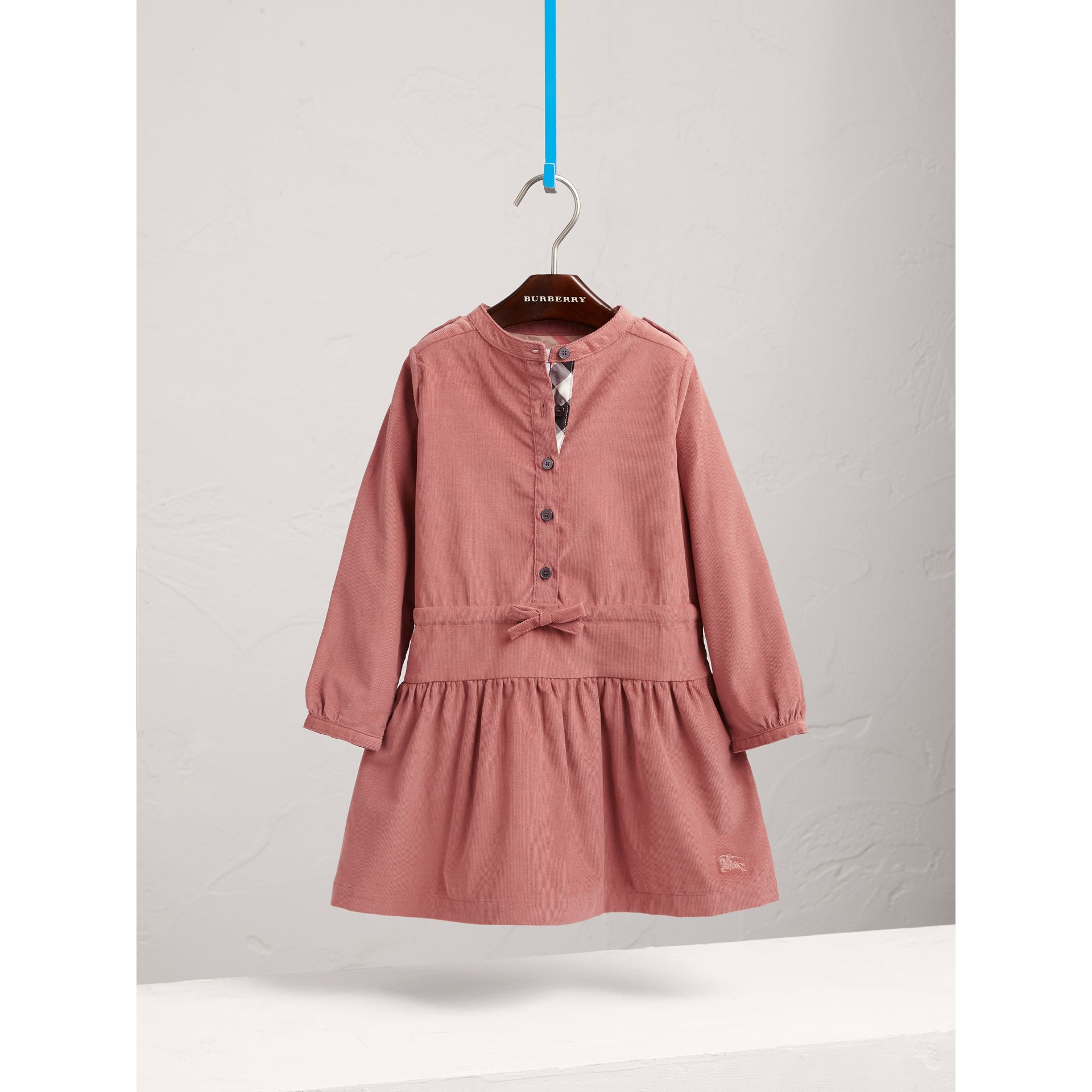 Gathered and Tie Waist Cotton Corduroy Dress in Rosewood - Girl | Burberry - gallery image 3