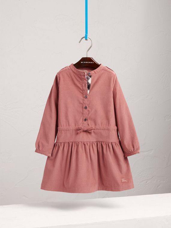 Gathered and Tie Waist Cotton Corduroy Dress in Rosewood - Girl | Burberry - cell image 2
